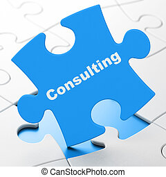 Finance concept: Consulting on puzzle background - Finance...
