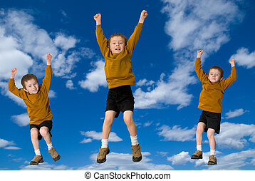 Young attractive boys jumping