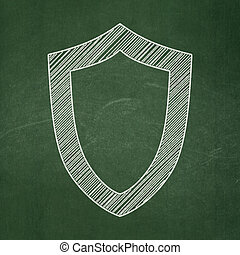 Security concept: Contoured Shield on chalkboard background
