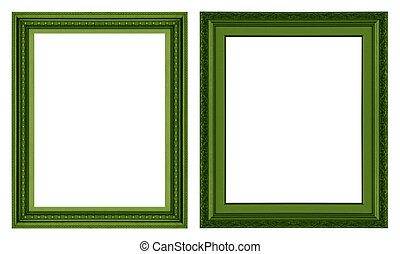 Picture Frame - Old antique green picture frame wall,...