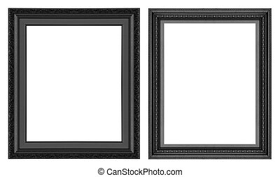 Picture Frame - Old antique black picture frame wall,...