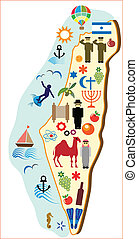 map of Israel with tourism symbols.