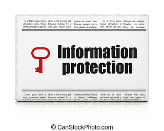 Security news concept: newspaper with Information Protection and Key