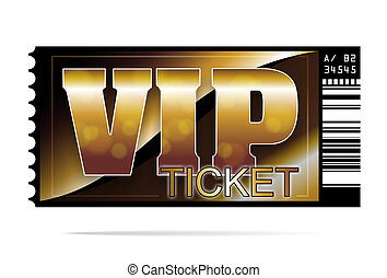ticket - illustration of a golden and exclusive VIP ticket