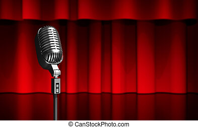 microphone on scene - 3d illustration of a microphone on...