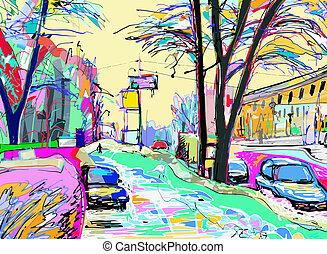 quadro, Inverno,  landscap,  digital