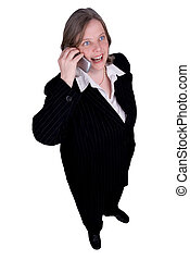 Businesswoman making a cell phone call isolated over white...