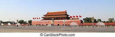 Tiananmen, cuadrado, --, grande, ciudad, cuadrado, centro,...