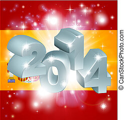 2014 Spanish flag - Flag of Spain 2014 background. New Year...