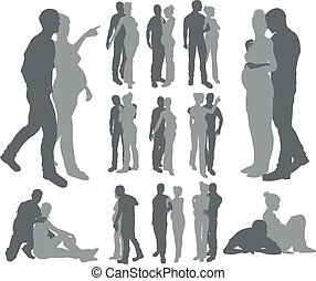 Couple silhouettes pregnant woman - High quality detailed...