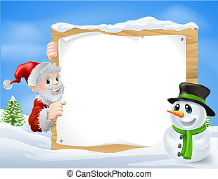 Santa Snowman Cartoon Sign - Santa and cartoon snowman sign...