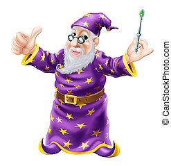 Wizard Illustration - Illustration of a happy old wise...