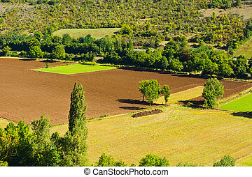 Fields - Plowed Sloping Hills in France