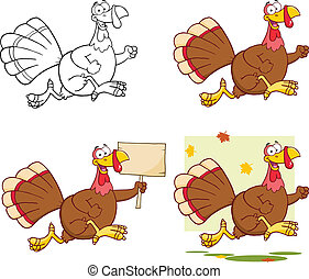 Cute Turkey Collection Set - Cute Turkey Cartoon Character...