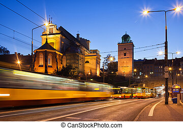 Traffic on the Solidarity Avenue in Warsaw - Evening traffic...