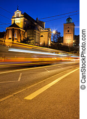 Night Traffic on the Solidarity Avenue in Warsaw - Night...