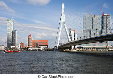City of Rotterdam Downtown Skyline in Netherlands