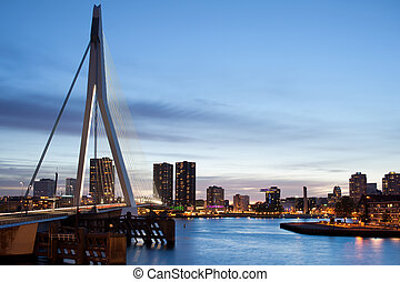 Cityscape of Rotterdam in the Evening