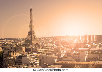 Eiffel Tower, Paris, panoramic view from Triumphal Arch