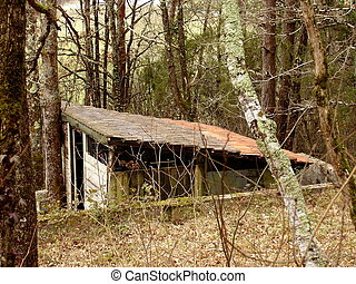 Goat Shed - Old wooden goat shed found in woodland