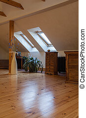 Cloudy home - attic with wooden finish, classic interior