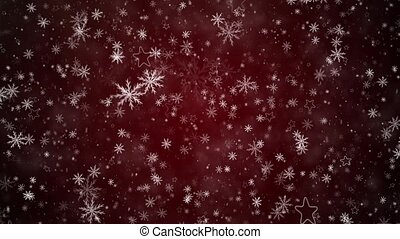 Winter Christmas background, falling snowflakes and stars