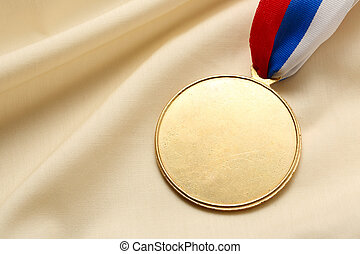 Blank metal medal - Metal medal on silk wrinkled cloth