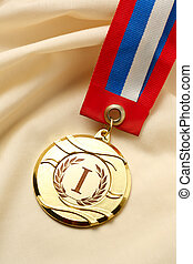 Metal medal first place - Metal medal on silk wrinkled cloth