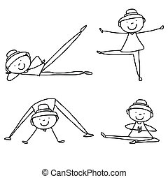 cartoon hand drawing woman practicing yoga - cartoon...