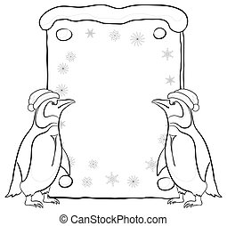 Penguins with Christmas poster, outline - Antarctic emperor...