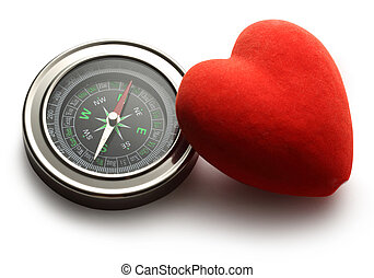Compass and red heart on white