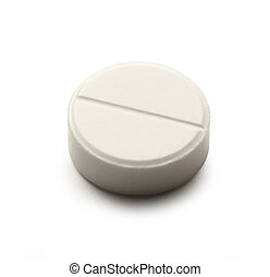 Aspirin pill on white background