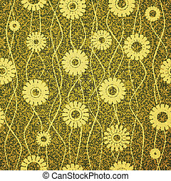 seam mosaic - new seamless pattern with flowers on green...