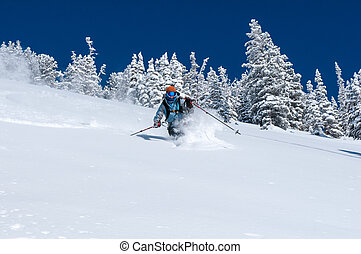 Alta back-country - Woman skiing deep powder near Alta Ski...