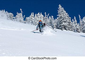 Alta back-country - Woman skiing deep powder near Alta Ski...