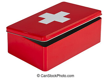 First aid kit isolated on white background - Red first aid...