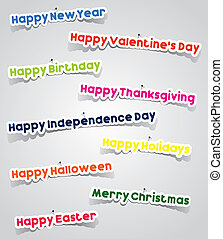 Important Events In A Year Stickers With Needles vector...