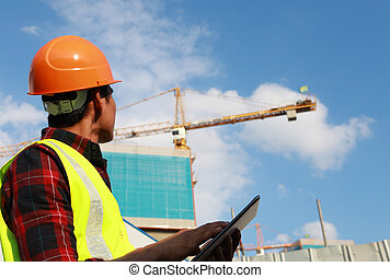 construction worker - builder worker activity with digital...