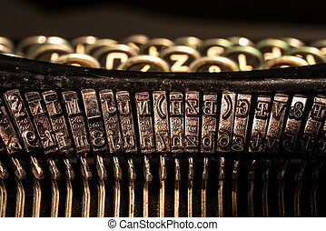 Close-up of old typewriter letter and symbol keys - Close-up...