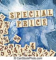 special price - digital advertising on a blue background