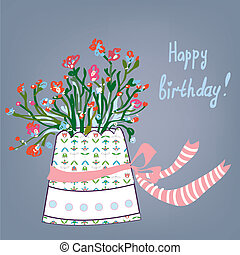 Greeting birthday card with flowers, pot, bows