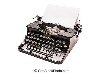 Vintage typewriter with paper sheet isolated on white