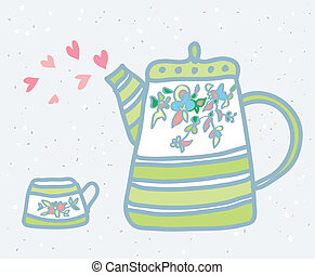 Tea pot, cup and love symbols background illustration