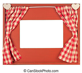 Curtain adorned photo frame on white background - Photo...