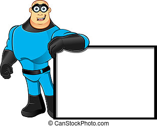 Blue Superhero - Leaning On Sign - A cartoon illustration of...