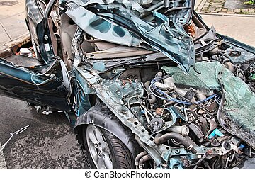 Car wreck - Generic compact car damaged in a rollover...