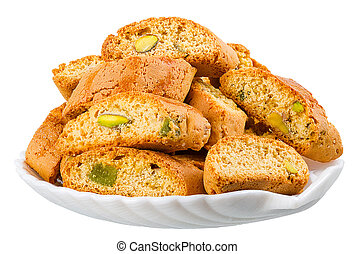 hard, dry biscuit with pistachios - crackers with pistachios...