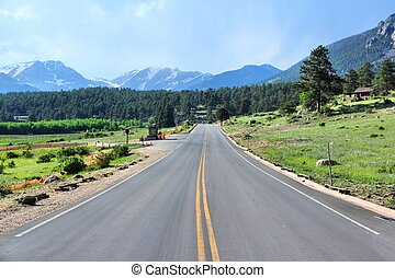 Rocky Mountain National Park in Colorado, USA Mountain road...