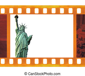 vintage old 35mm frame photo film with NY Statue of Liberty,...