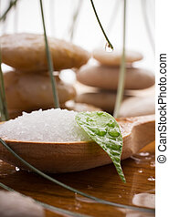 Sea salt - Sea salt in a wooden spoon with a green leaf, spa...